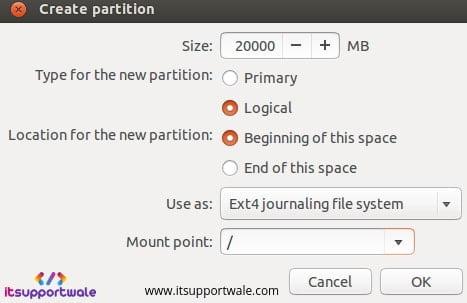 Ubuntu-18.04-Desktop-create-root-partition
