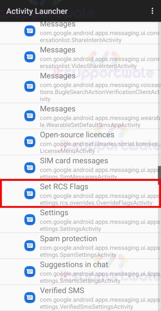 select-rcs-flags-in-activity-launcher